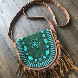 EARTHBOUND Beaded Crossbody Bag with Fringe